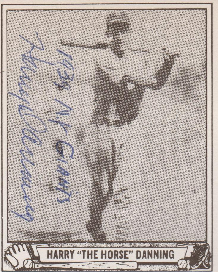 Autographed reprint of Harry Danning's 1940 Play Ball card
