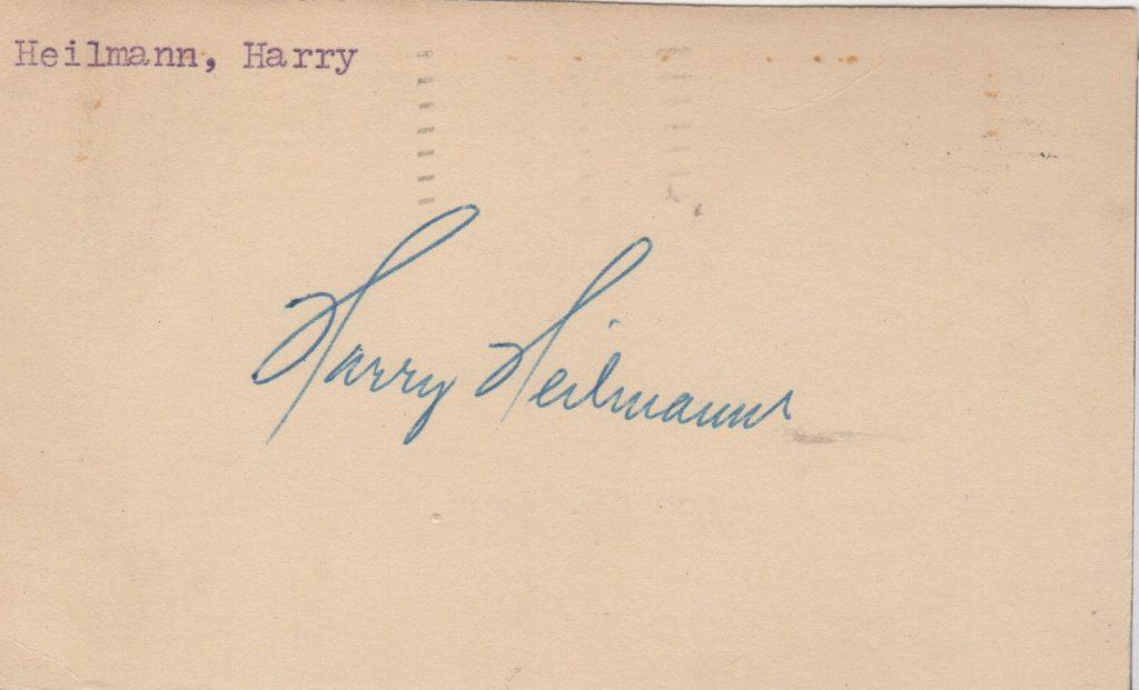 Harry Heilmann signed government post card