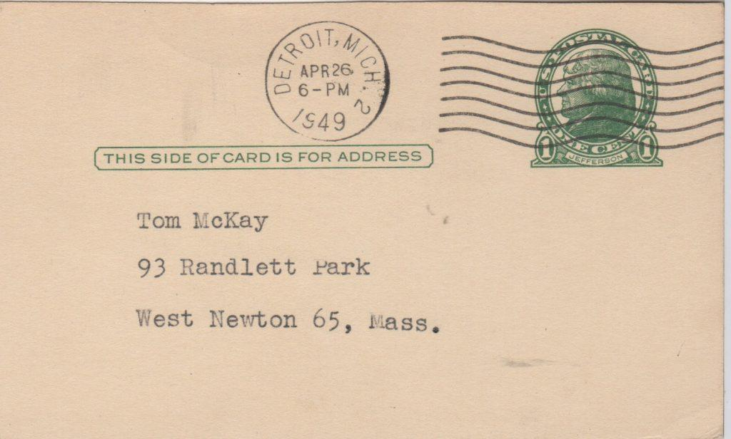 Reverse of GPC with April 26, 1949 postmark