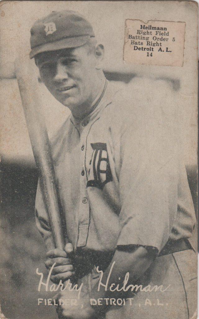 Original Harry Heilmann 1922 Exhibit card