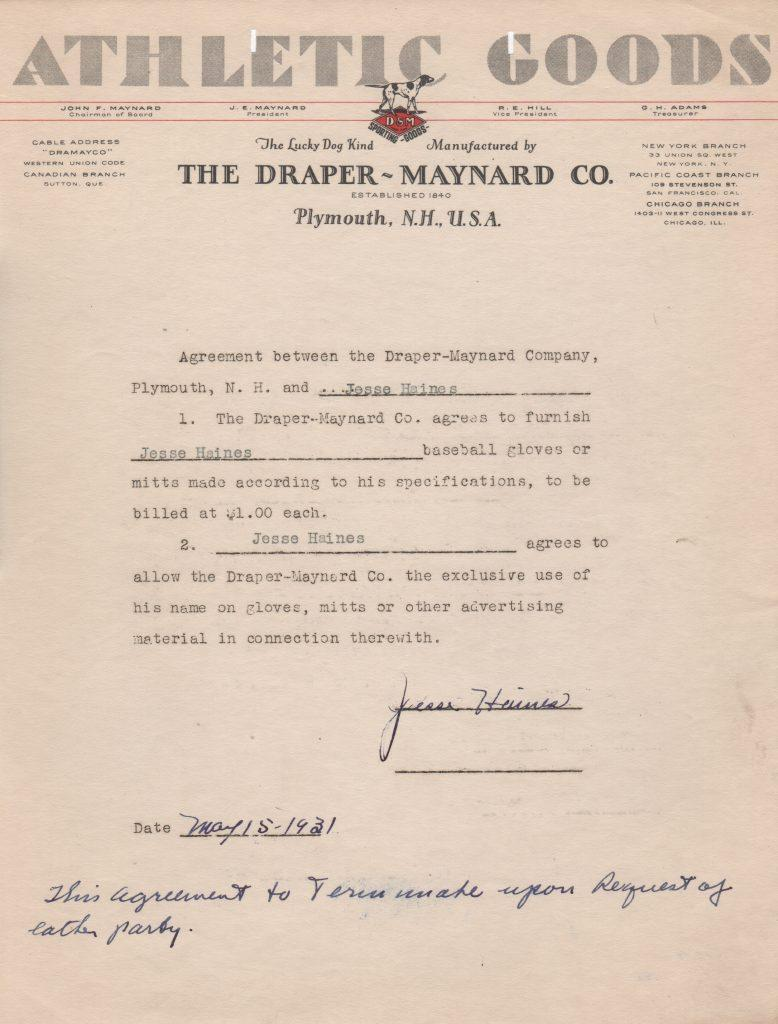Draper-Maynard contract signed by Jesse Haines in 1931