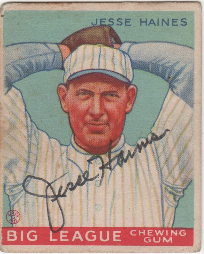 Original 1933 Goudey autographed by Jesse Haines