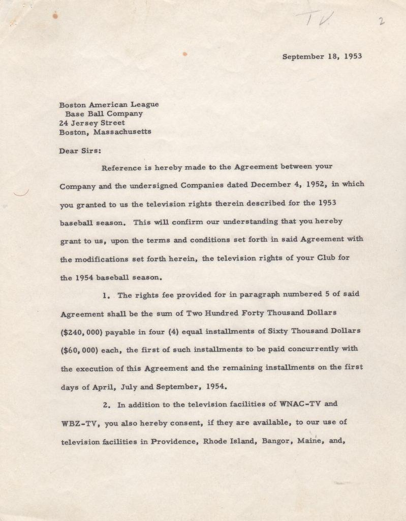Letter/contract for the Red Sox 1954 television rights