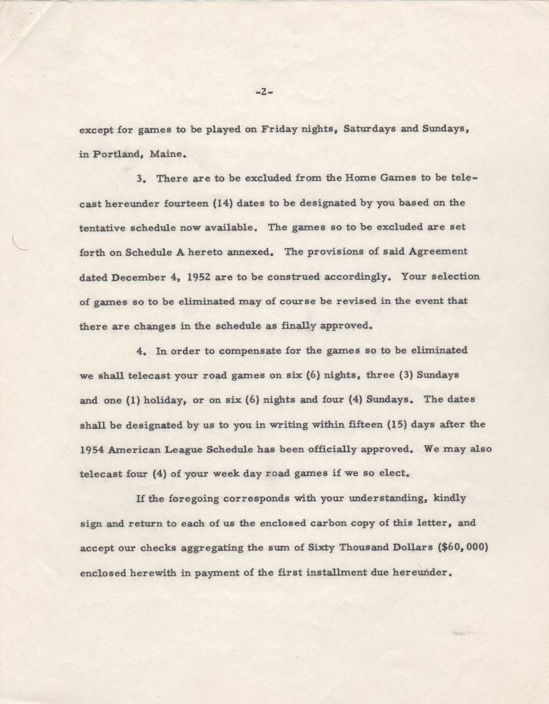 Second page of Red Sox 1953 TV letter/contract