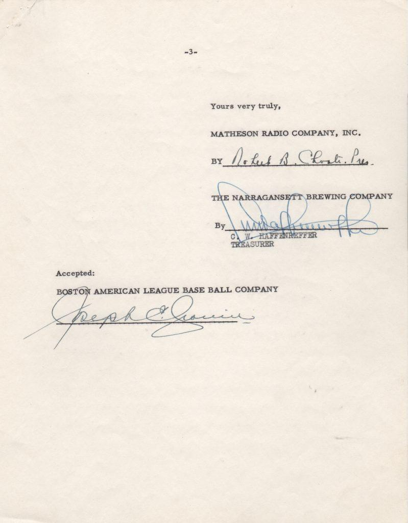 Signature page of the 1953 letter/contract