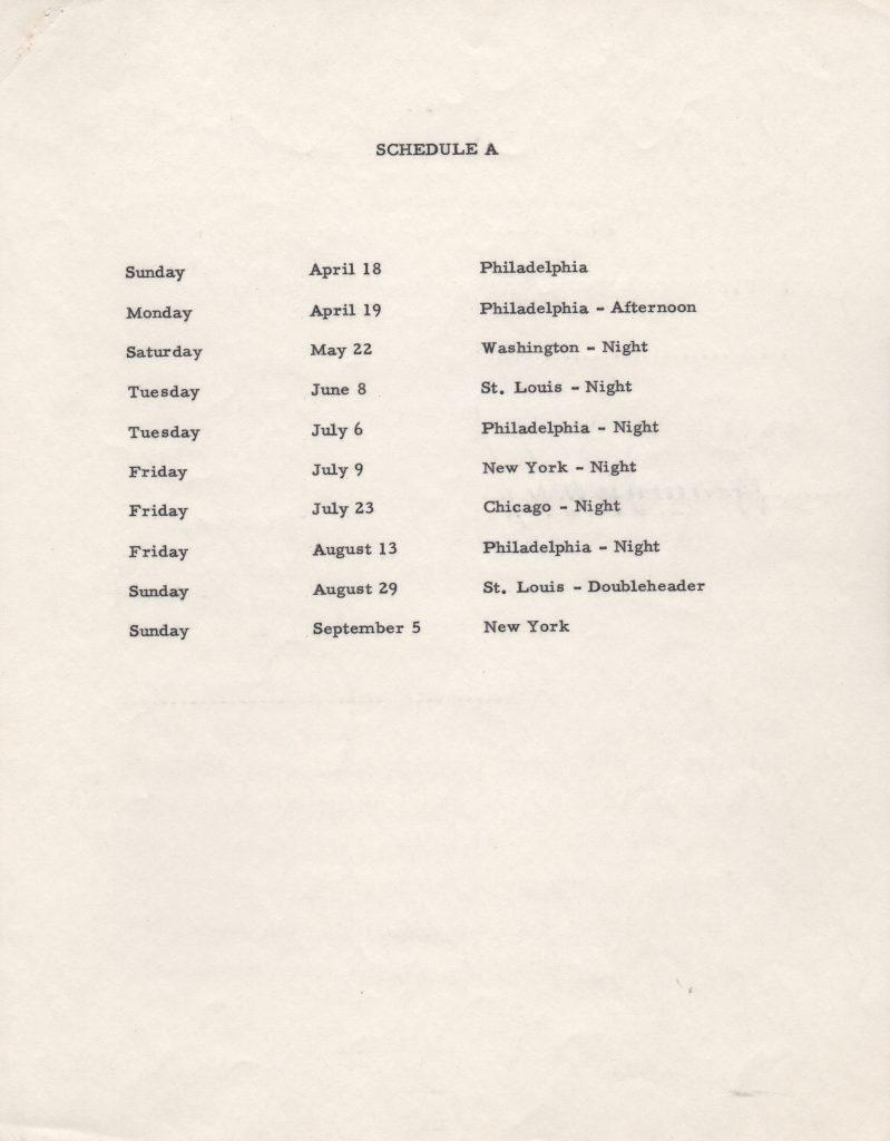 Schedule A -- A list of eleven ball games