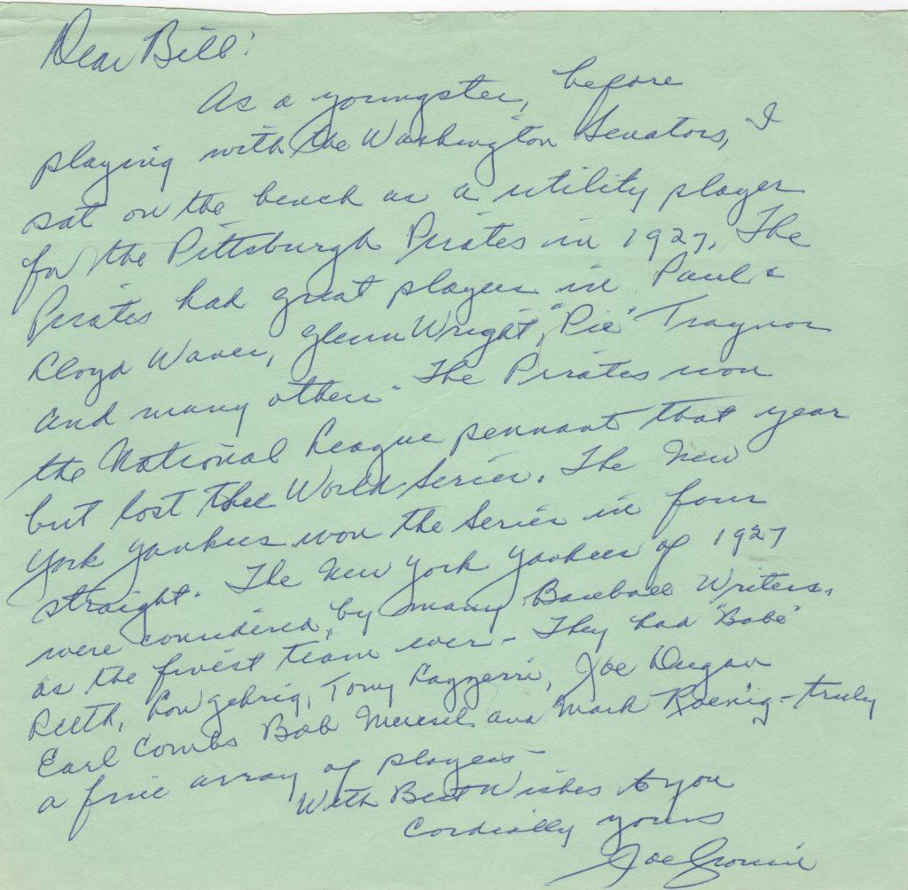 Joe Cronin letter with outstanding content