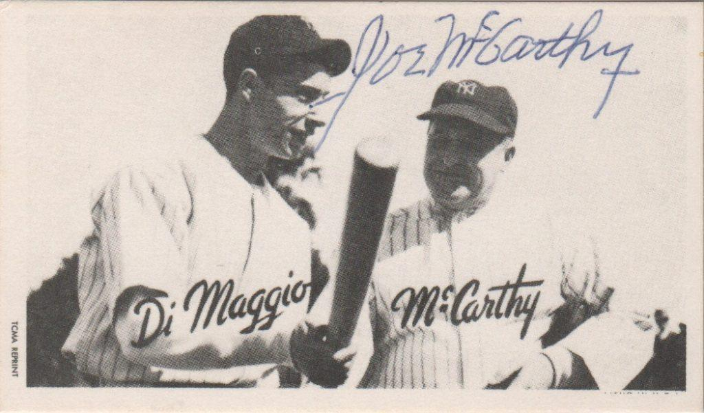 Reprint card with Joe DiMaggio signed by Joe McCarthy