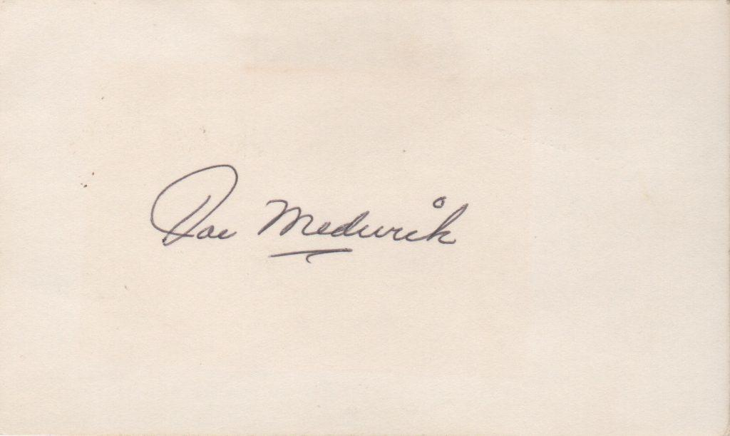 Joe Medwick signed 3x5 index card