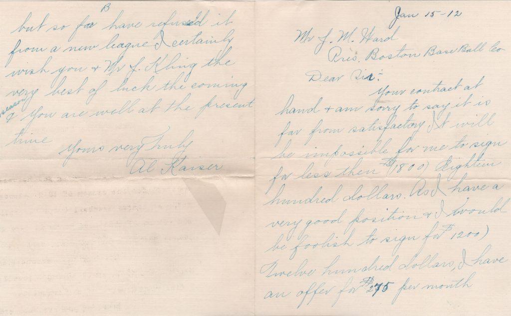 1912 handwritten letter to John Montgomery Ward
