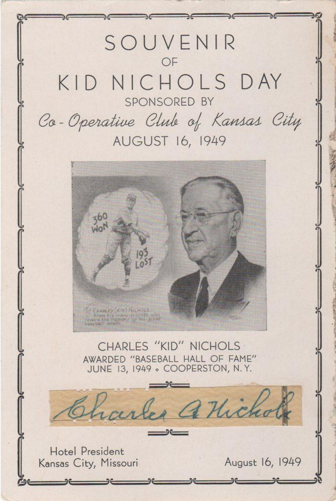 Signature from a personal check affixed to Kid Nichols Day program