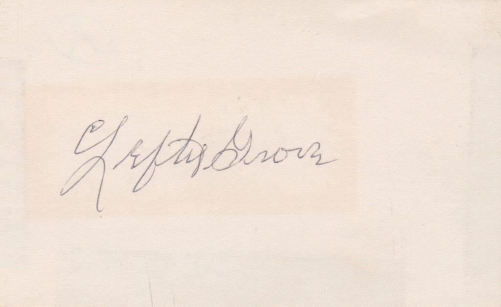 Lefty Grove autographed 3x5 card