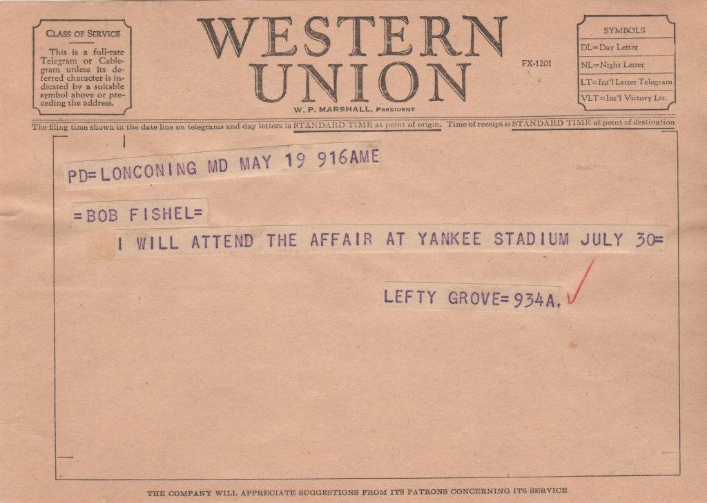 Telegram from Lefty Grove about Yankee Old Timer's Game