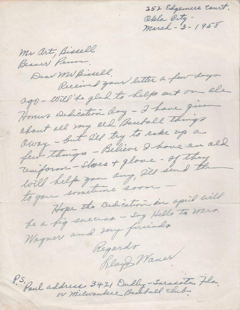 Lloyd Waner writes about Honus Wagner Dedication Day