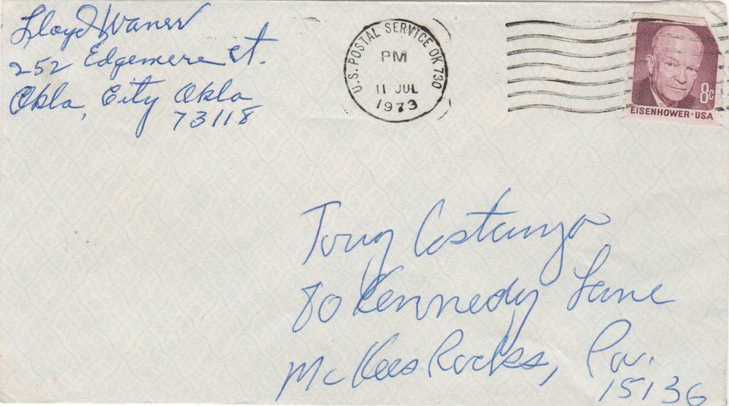 Lloyd Waner autograph on return address portion of envelope