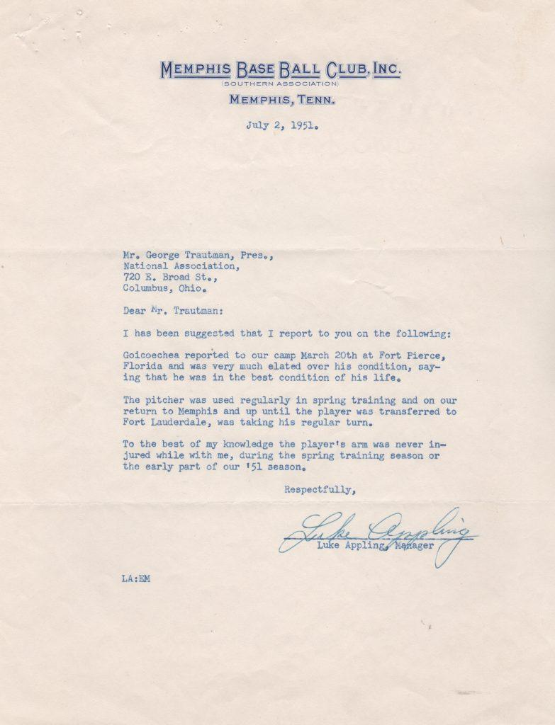 Luke Appling signed 1954 letter as Memphis manager
