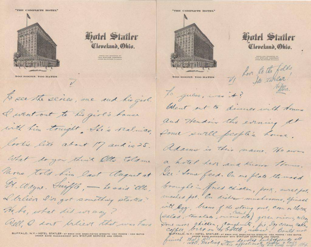 Final two pages of the letter -- Honus Wagner mentioned