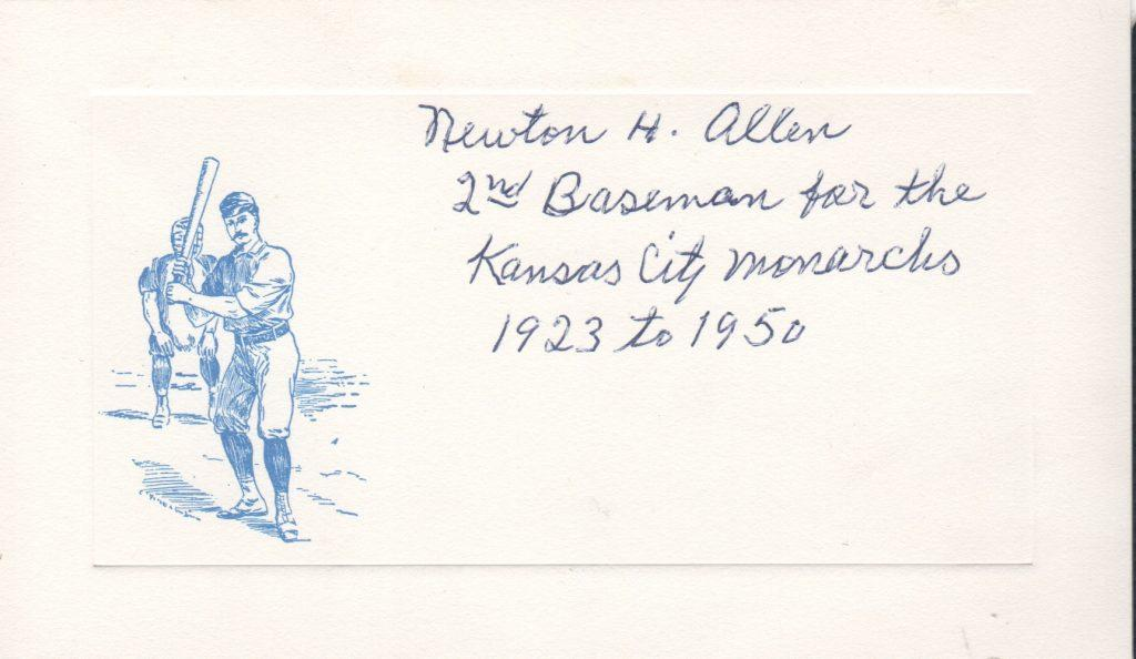 Newt Allen signed oversized card with inscription