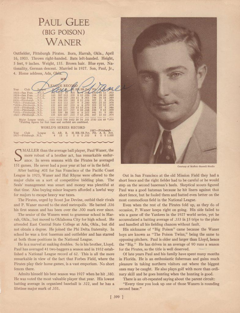 1933 Who's Who in baseball autographed Paul Waner page