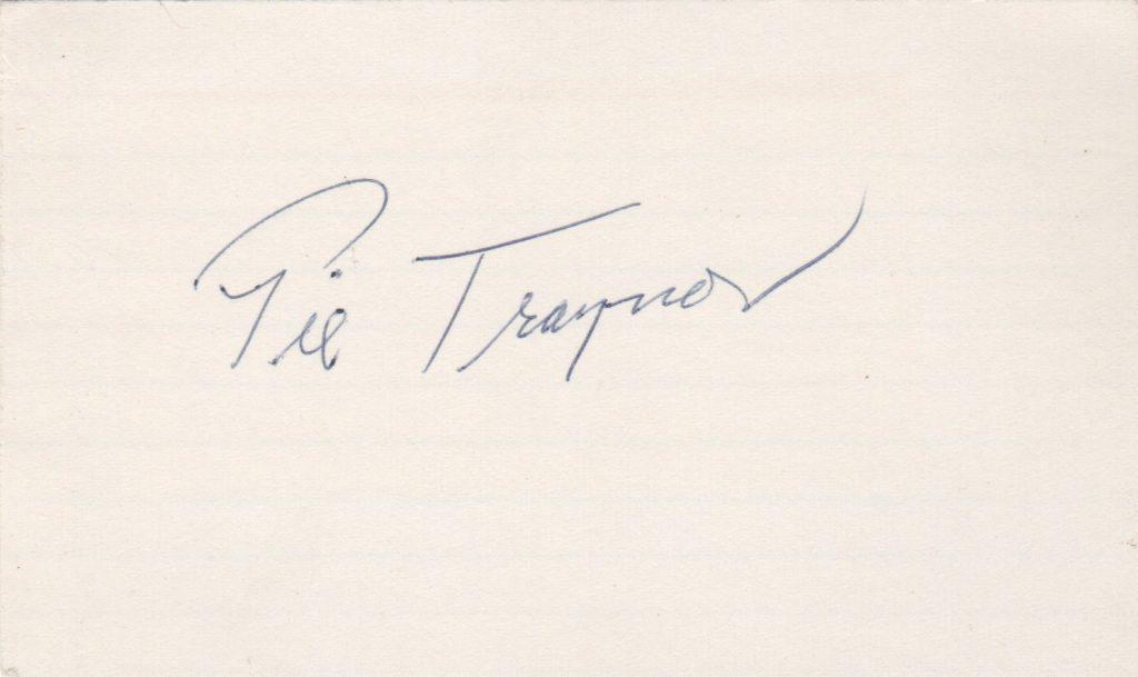 Pie Traynor autographed 3x5 index card