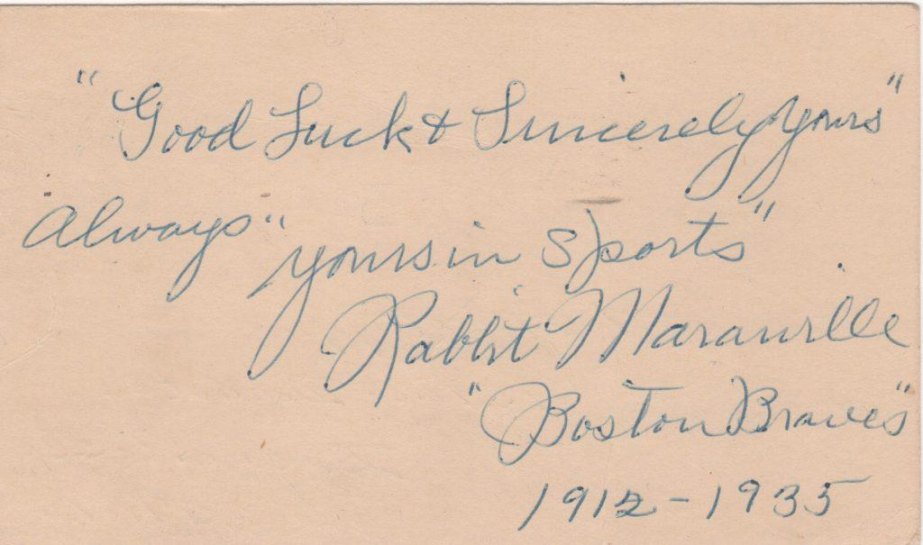 Rabbit Maranville signed government postcard from 10/9/1949