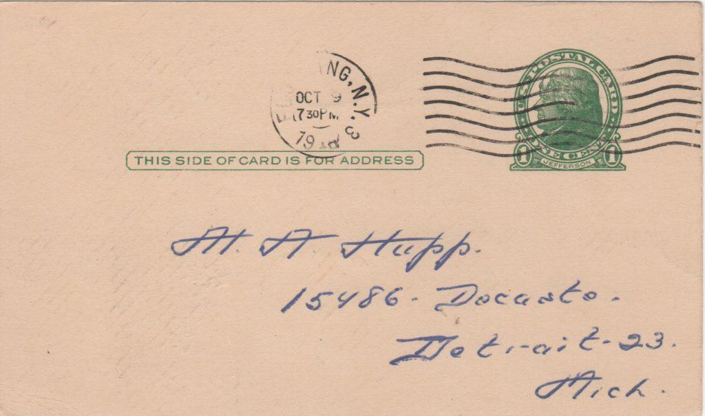 Reverse of GPC with 10/9/1949 postmark