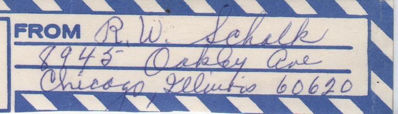 Ray Schalk handwritten return address