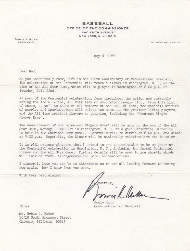 Bowie Kuhn invites Red Faber to Baseball's centennial celebration in 1969