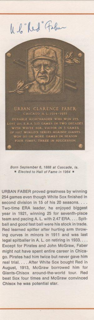 Red Faber autographed page featuring his HoF plaque