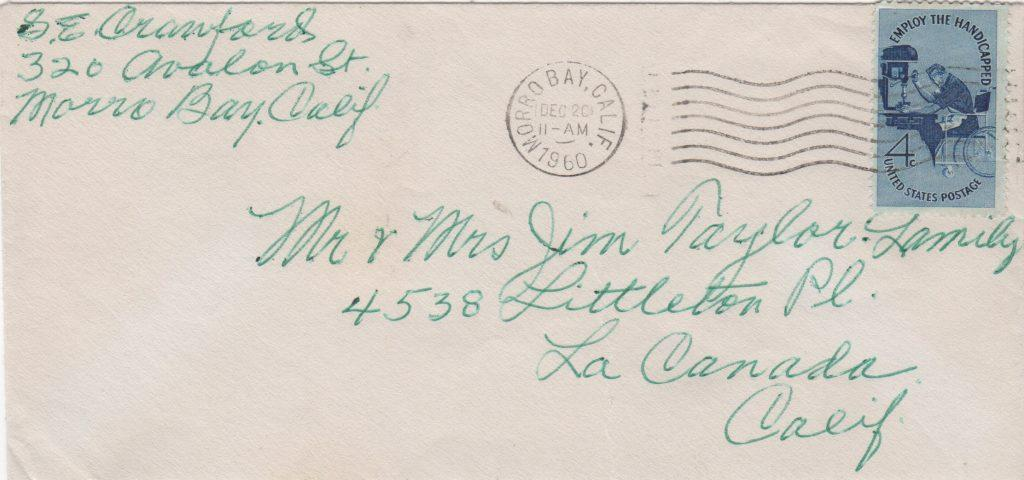 Envelope with return address portion signed by Sam Crawford