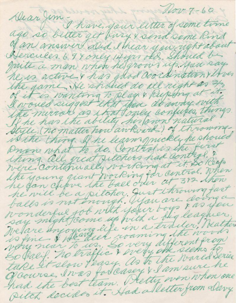 Page one of two-page letter written by Crawford