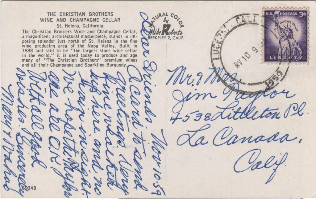 Postcard written by Sam Crawford