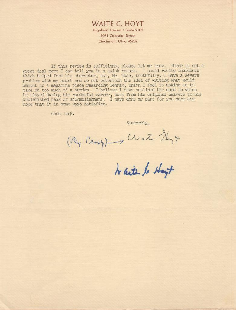 Page 2 of Lou Gehrig-content letter from Waite Hoyt