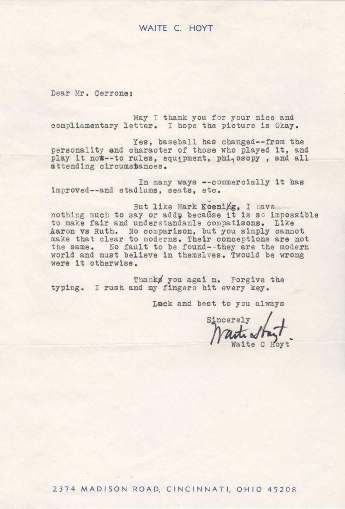 Waite Hoyt letter with Ruth/Aaron comparison