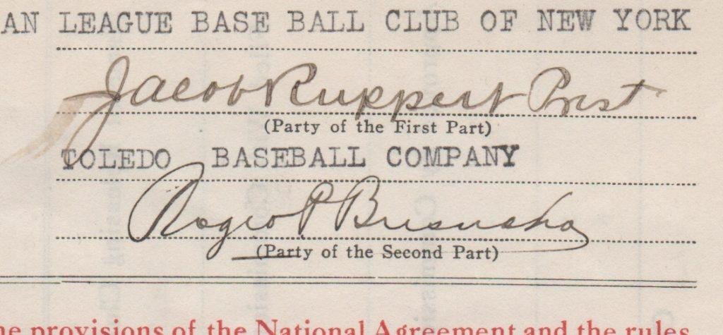 Closeup of Roger Bresnahan and Jacob Ruppert signatures