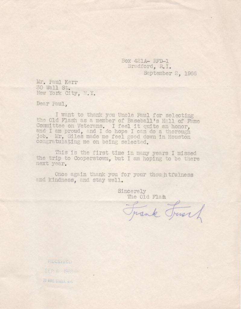 Letter in which Frisch vows to do a
