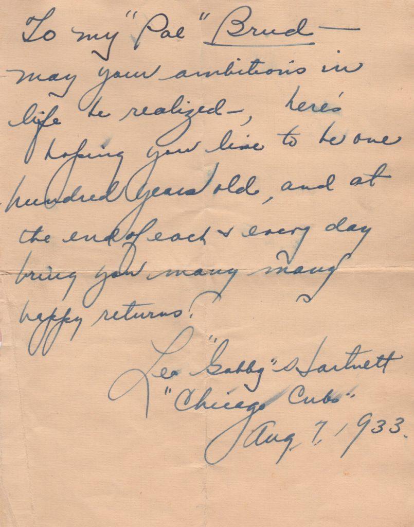 Handwritten letter from Gabby Hartnett in 1933