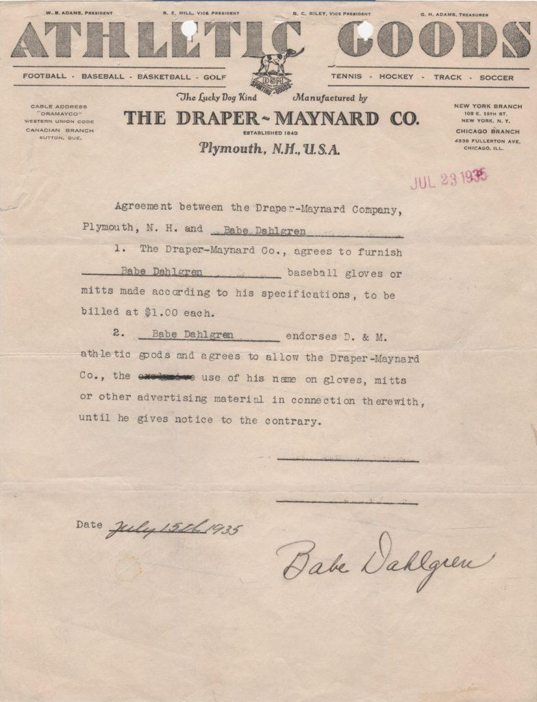 1935 Draper-Maynard Athletic Goods endorsement contract, three months after MLB debut