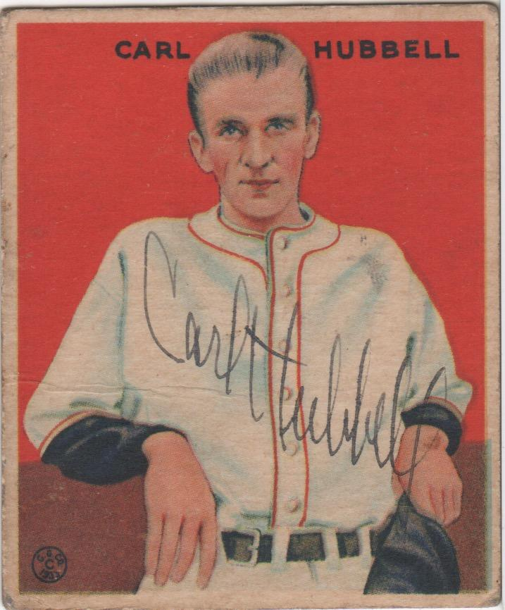 Autographed original 1933 Goudey of Carl Hubbell