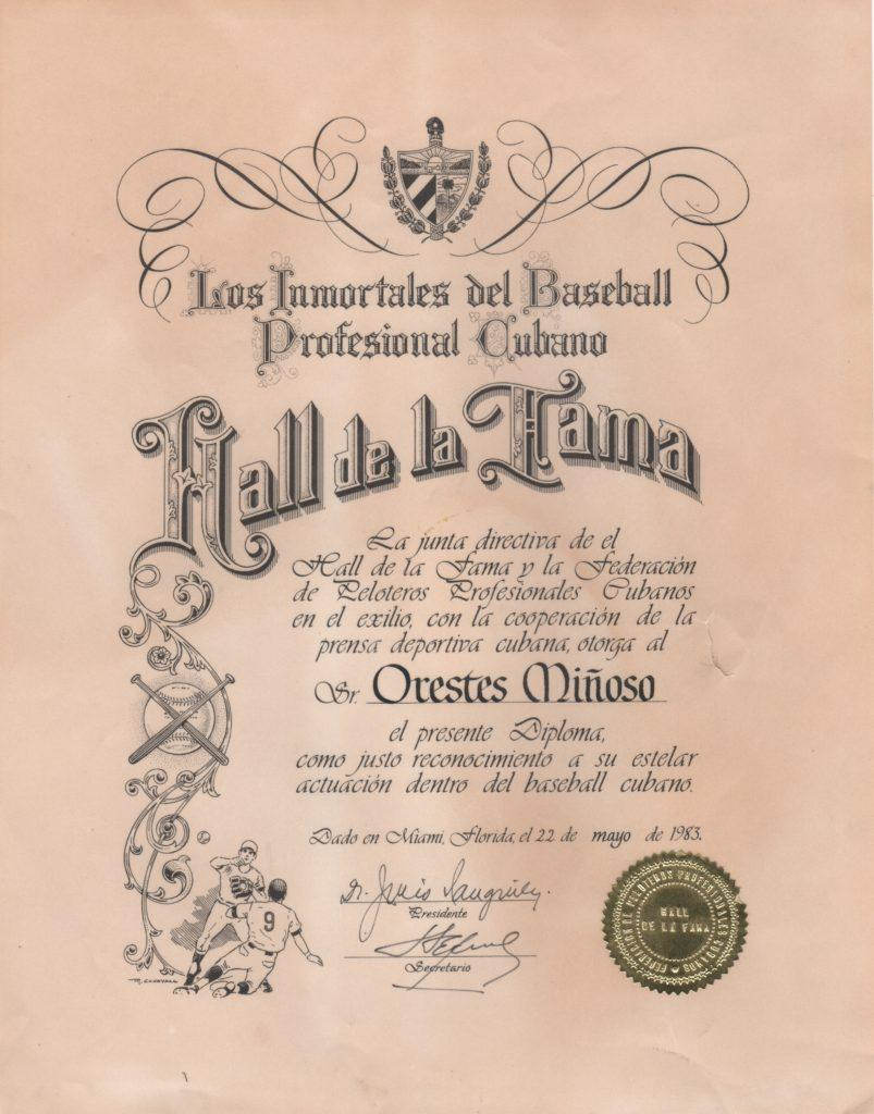 Original certificate given to Minoso by the Cuban Baseball Hall of Fame