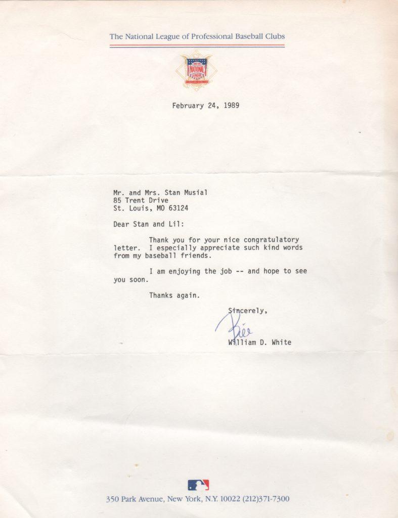 As National League President, White writes to Stan Musial