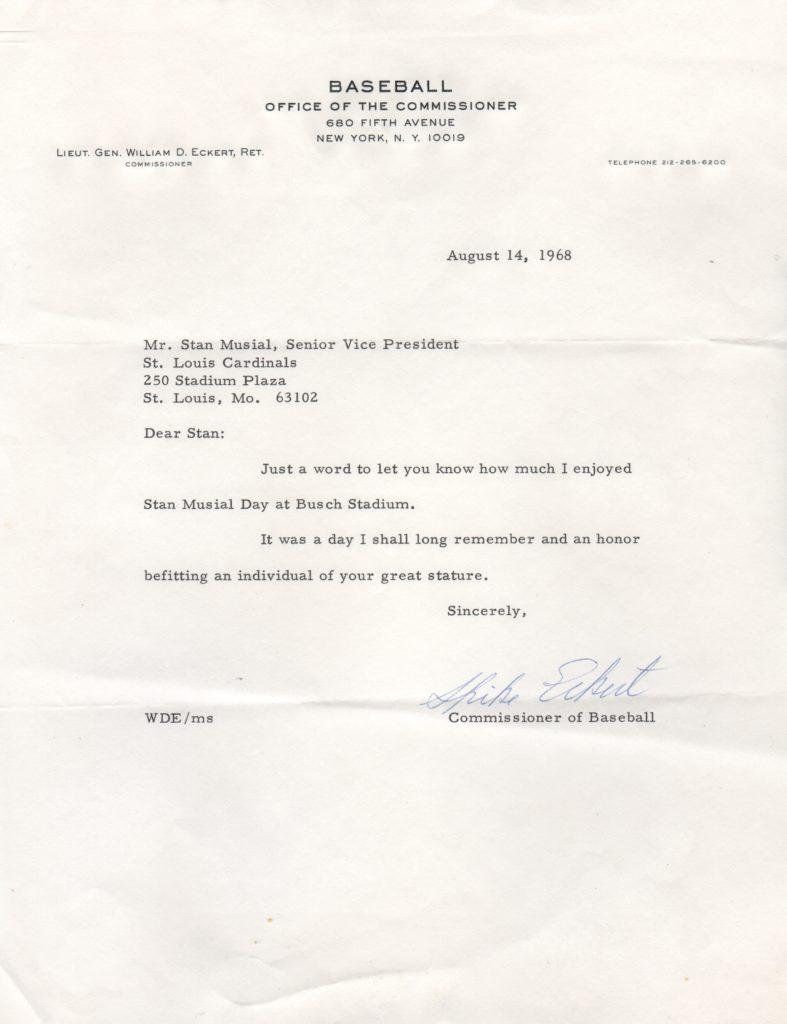 Commissioner Eckert writes to
