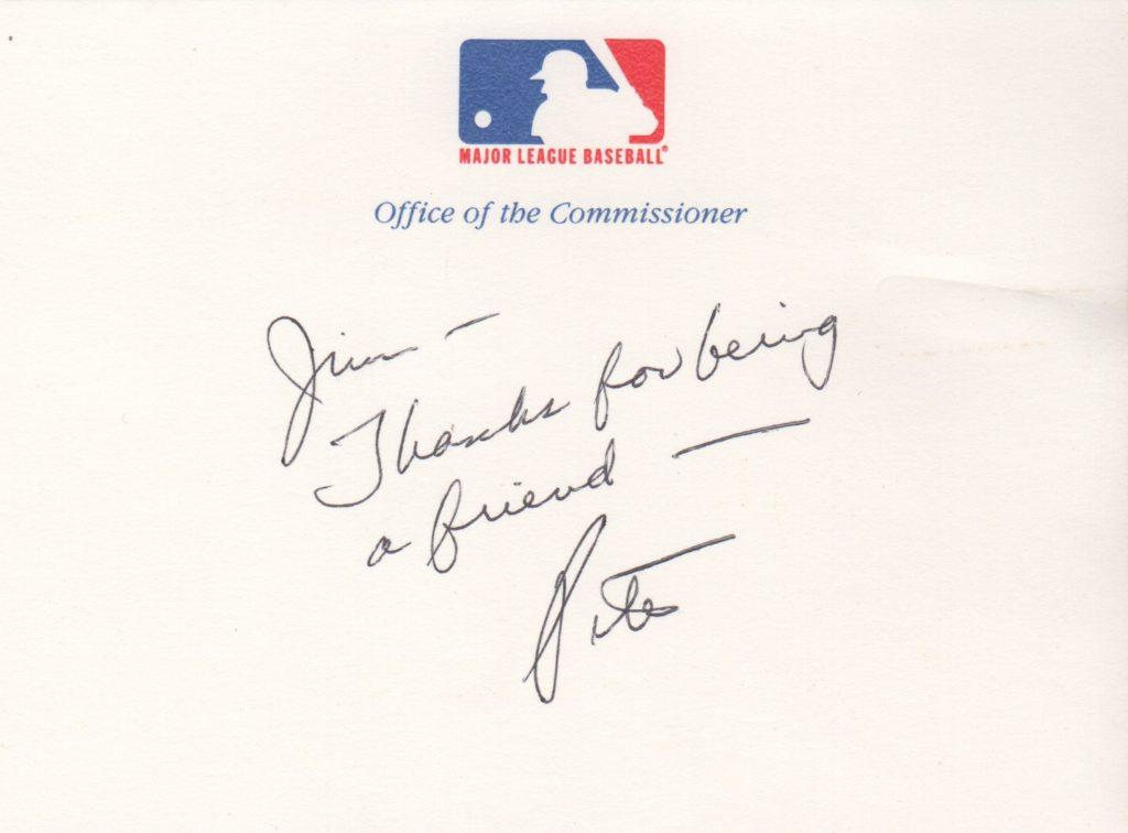 Peter Ueberroth handwritten note to sportwriter Jim Murray