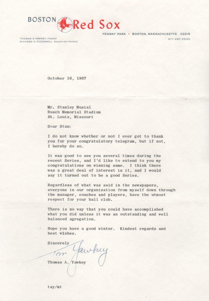 Here's the letter from Boston owner Tom Yawkey to Cards GM Stan Musial