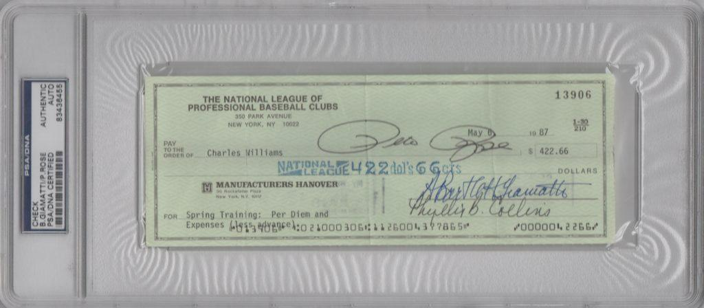 Pete Rose and Bart Giamatti signed check