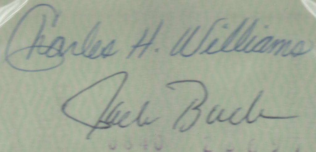 Reverse of Rose/Giamatti-signed check endorsed by Charlie Williams and Jack Buck