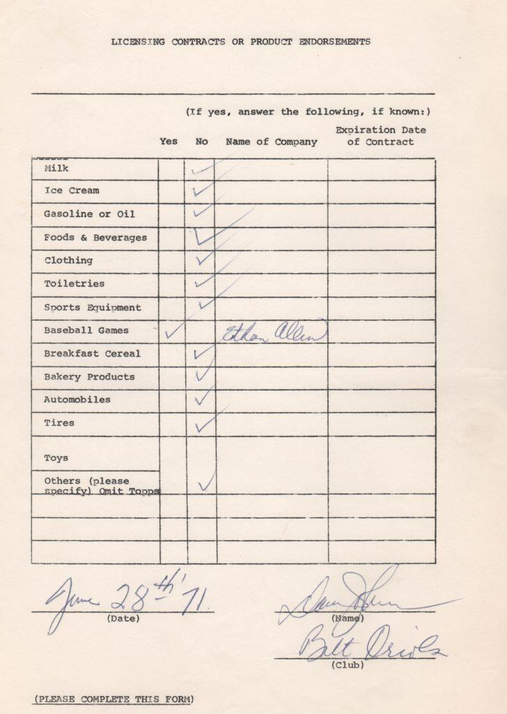 Davey Johnson 1971 MLBPA signed endorsement questionnaire
