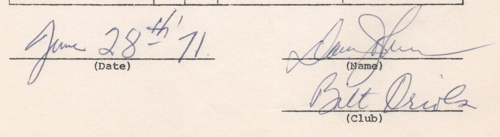 Closeup of 1971 Davey Johnson signature on MLBPA endorsement questionnaire