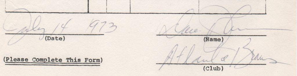 Closeup of 1973 Davey Johnson signature on MLBPA endorsement questionnaire