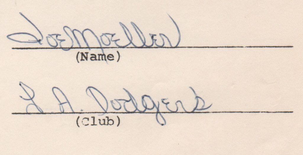 Closeup of 1970 Joe Moeller signature on endorsement questionnaire from MLBPA